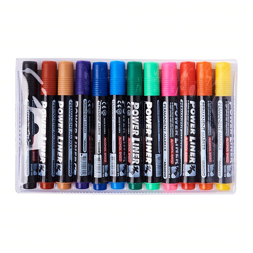 Permanent Marker Wallet Of 12 Assorted Colours