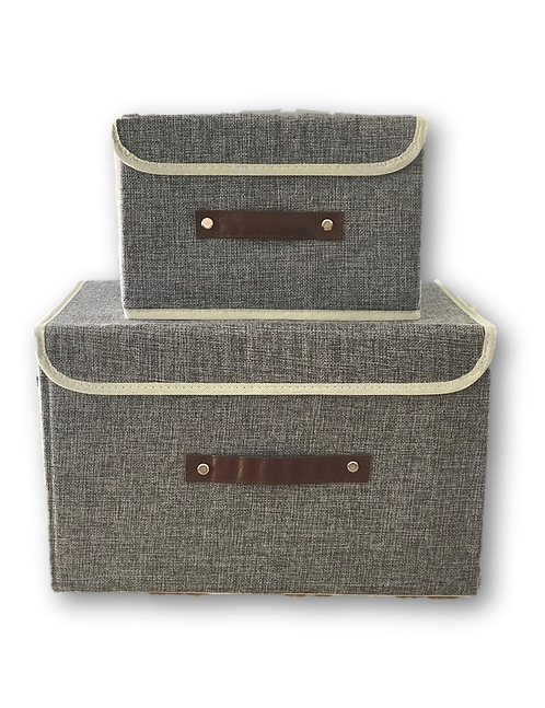 Grey Fabric Storage boxes with handle-Small & Big