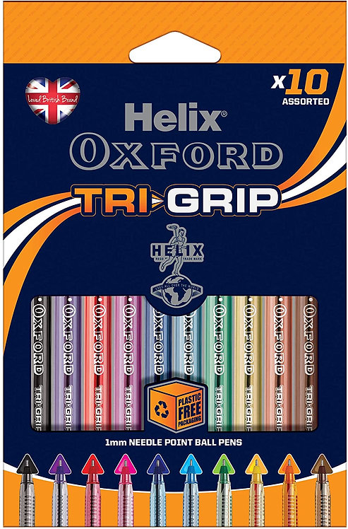 Helix Oxford Tri-Grip Ballpoint Pens (x10 Pack Assorted Colours)