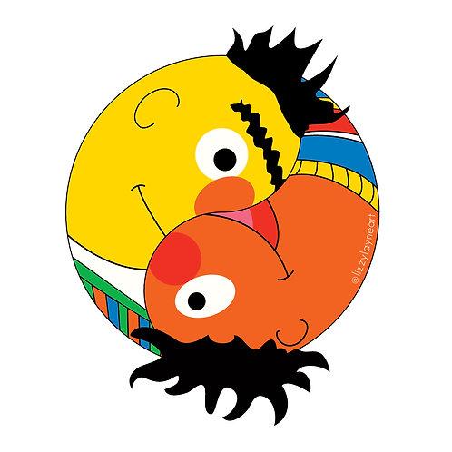 Bert + Ernie Yin Yang Stickers