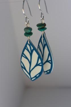 Blue Leaf Drops #E85