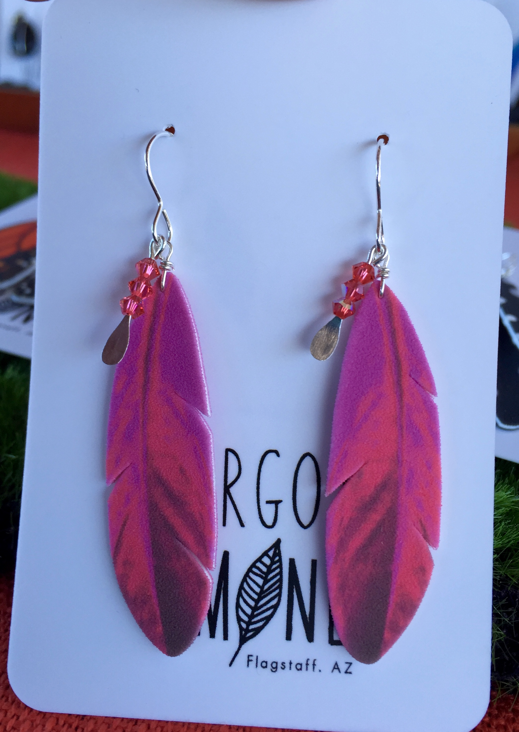 Pink Feather with Crystal Charm #E59