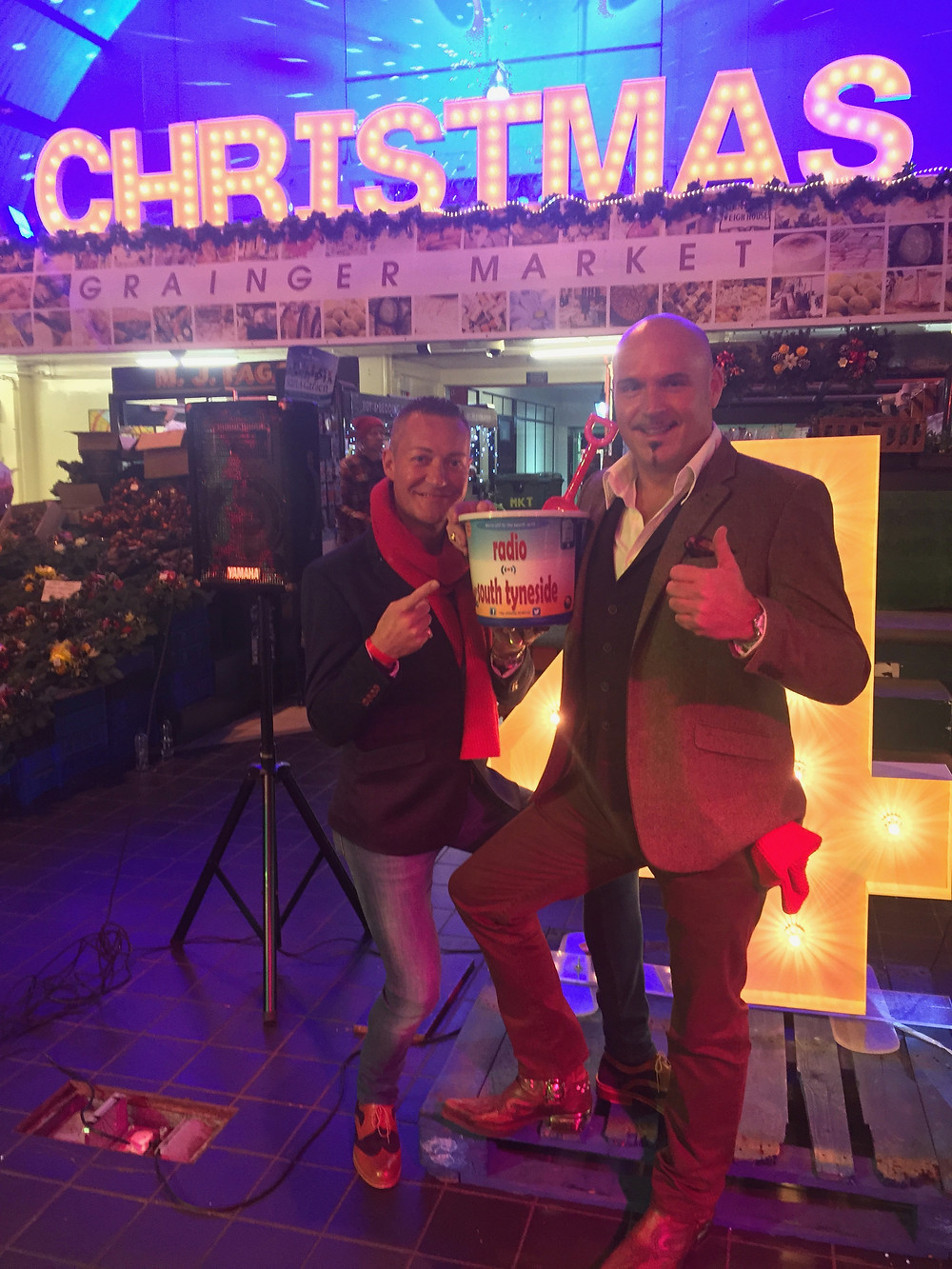 Andrew Lee Ogden and Andrew Dyke at the Xmas Night Market , Grainger Market Newcastle