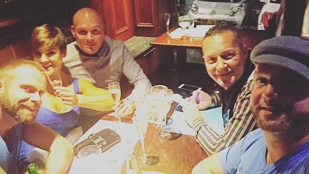 Andrew Dyke and Alan Lee Ogden with friends El Fegan, Anthony James Hall and Craig Wilde dining at Newcastle Restaurant Dacantus
