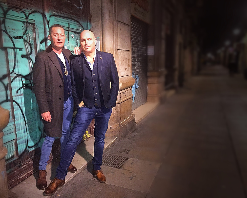 Alan Lee Ogden and Andrew Dyke  - a night time snap on the Ramblas of Barcelona