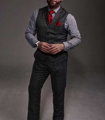 Craig Wilde modelling CAVAN Menswear and Always Wear Red