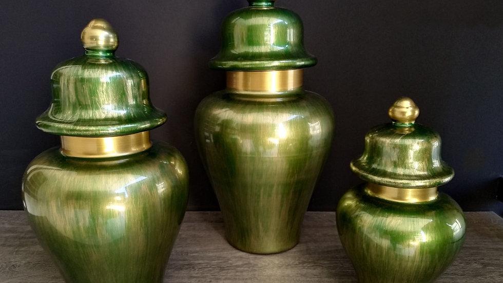 set vazo takımı yeşil ve yaldız
