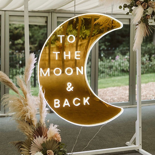 To the Moon & Back Gold Mirrored Signage