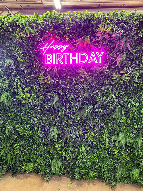 Neon Pink Happy Birthday Sign