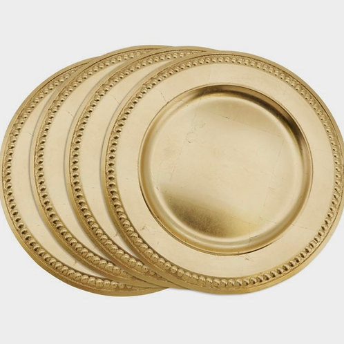Gold Round Acrylic Beaded Charger Plates