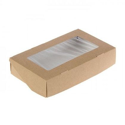 Коробка для десертов крафт с окном 20х12х4 см