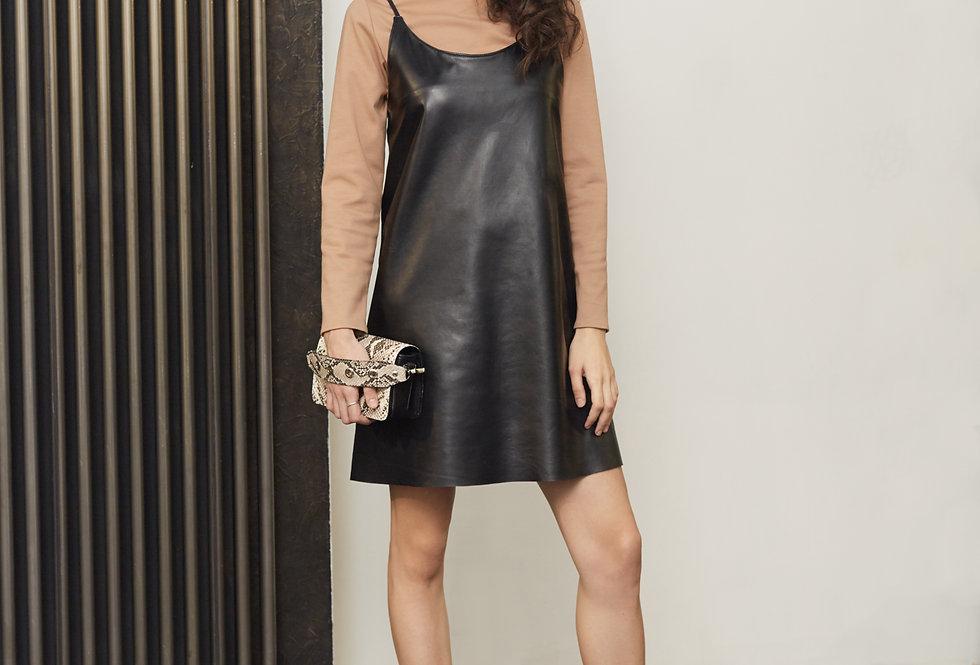 Платье-комбинация кожа