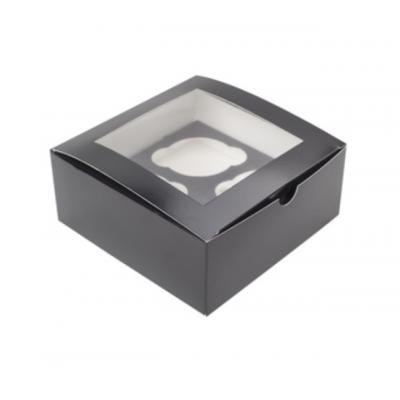 Коробка для Капкейков 4 ячейки с окном черная/белая