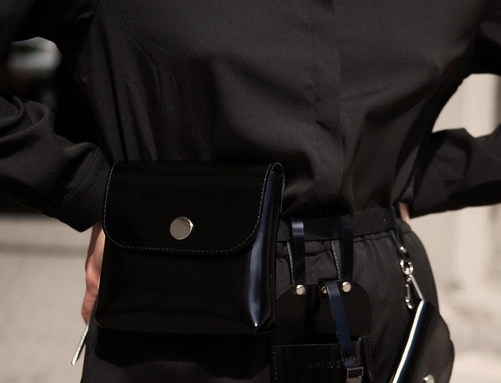 Набор кожаных аксессуаров на пояс черный