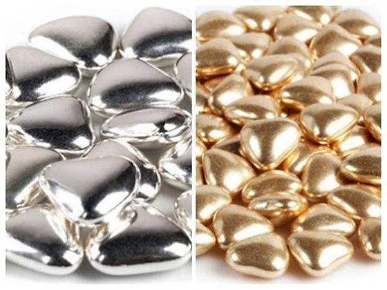 Посыпка Сердечки Шоколадные Серебро Золото 100г