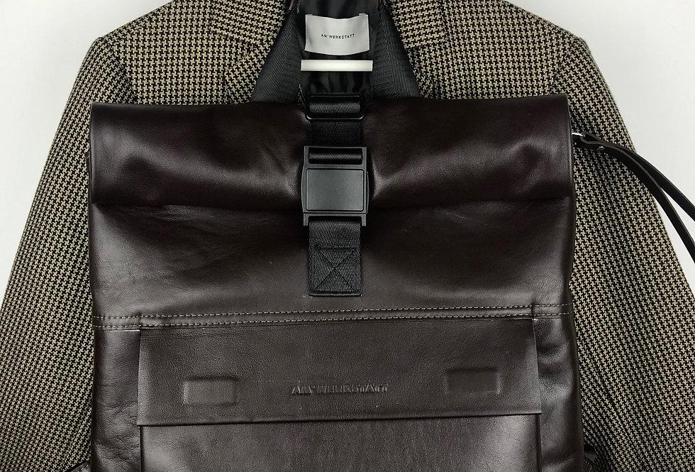 Объёмный кожаный рюкзак коричневый