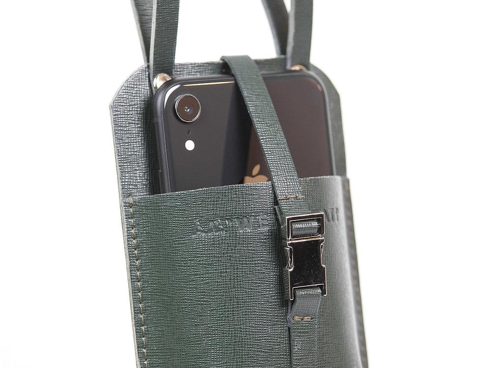 Кожаный чехол для телефона на пояс хаки