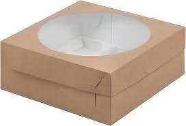 Коробка для Капкейков 9 ячеек с окном крафт/белая
