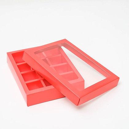 Коробка для конфет 12 ячеек с окном, красная