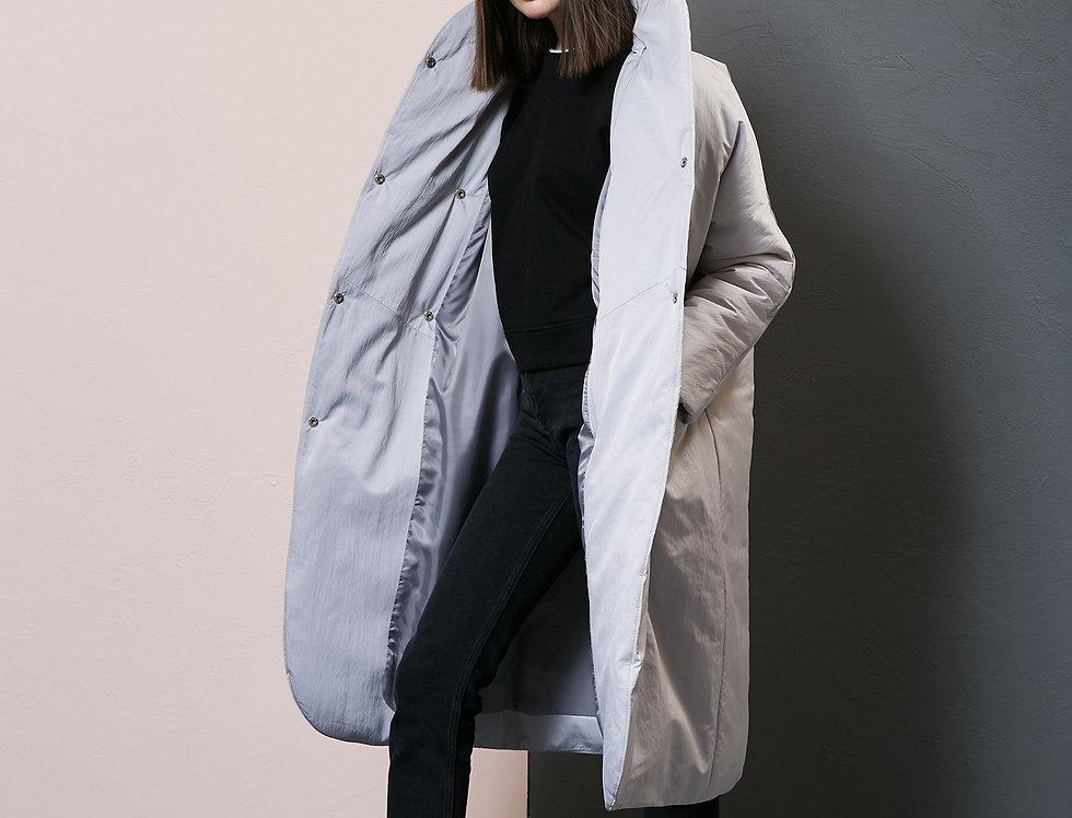 Пальто пуховик серебро