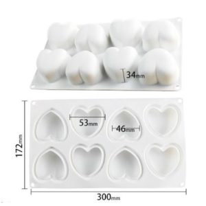 Форма для муссовых десертов Сердце 8 ячеек