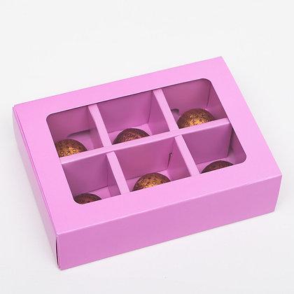 Коробка для конфет 6 ячеек с окном, сиреневая