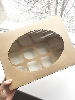 Коробка для Капкейков 12 ячеек с окном крафт/белая
