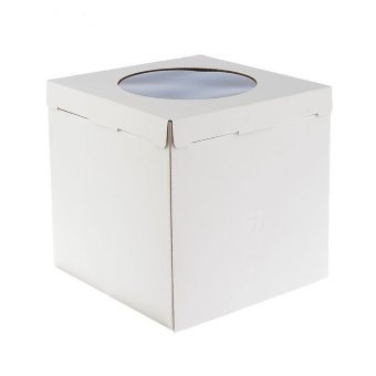 Коробка для торта с круглым окном плотная 32х32х35 см