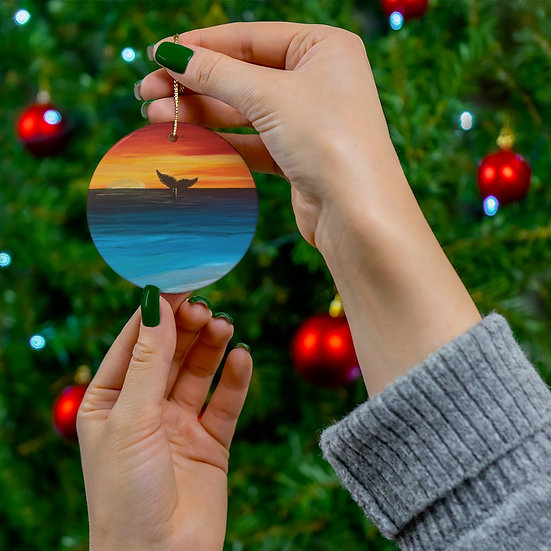 Original Artwork Whale in the Sunset Holiday Ornament