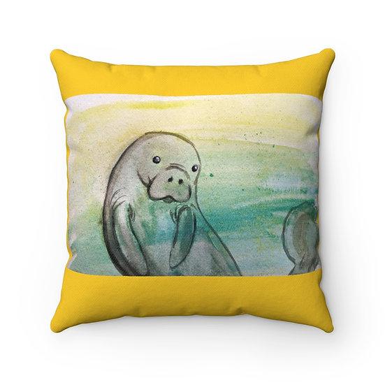 Adorable Manatee Original Watercolor Art Pillow