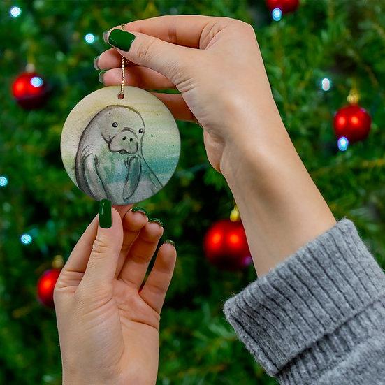 Original Artwork Manatee Holiday Ornament