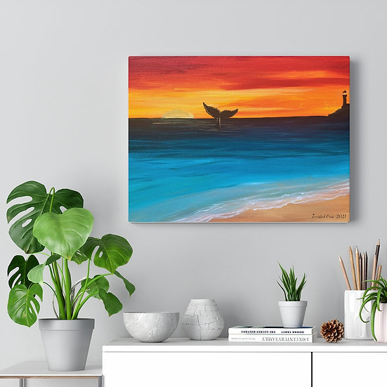 Whale in the Sunset Original Art Print Canvas Gallery Wrap