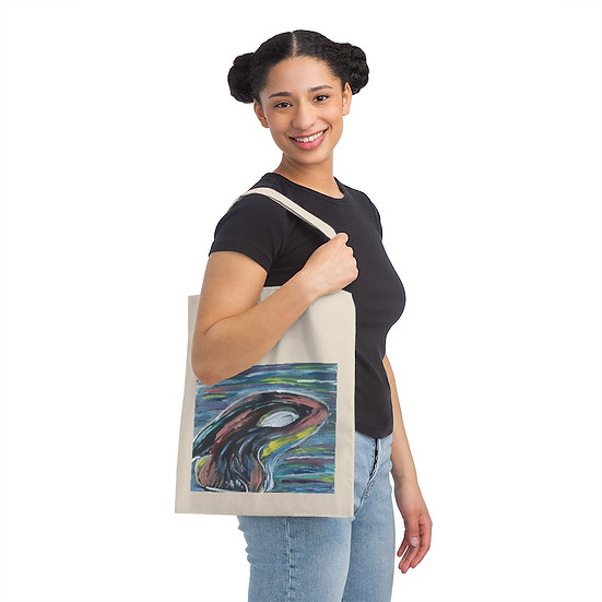 Abstract Orca Canvas Tote Book Bag