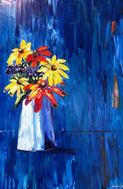 Bouquet on Blue