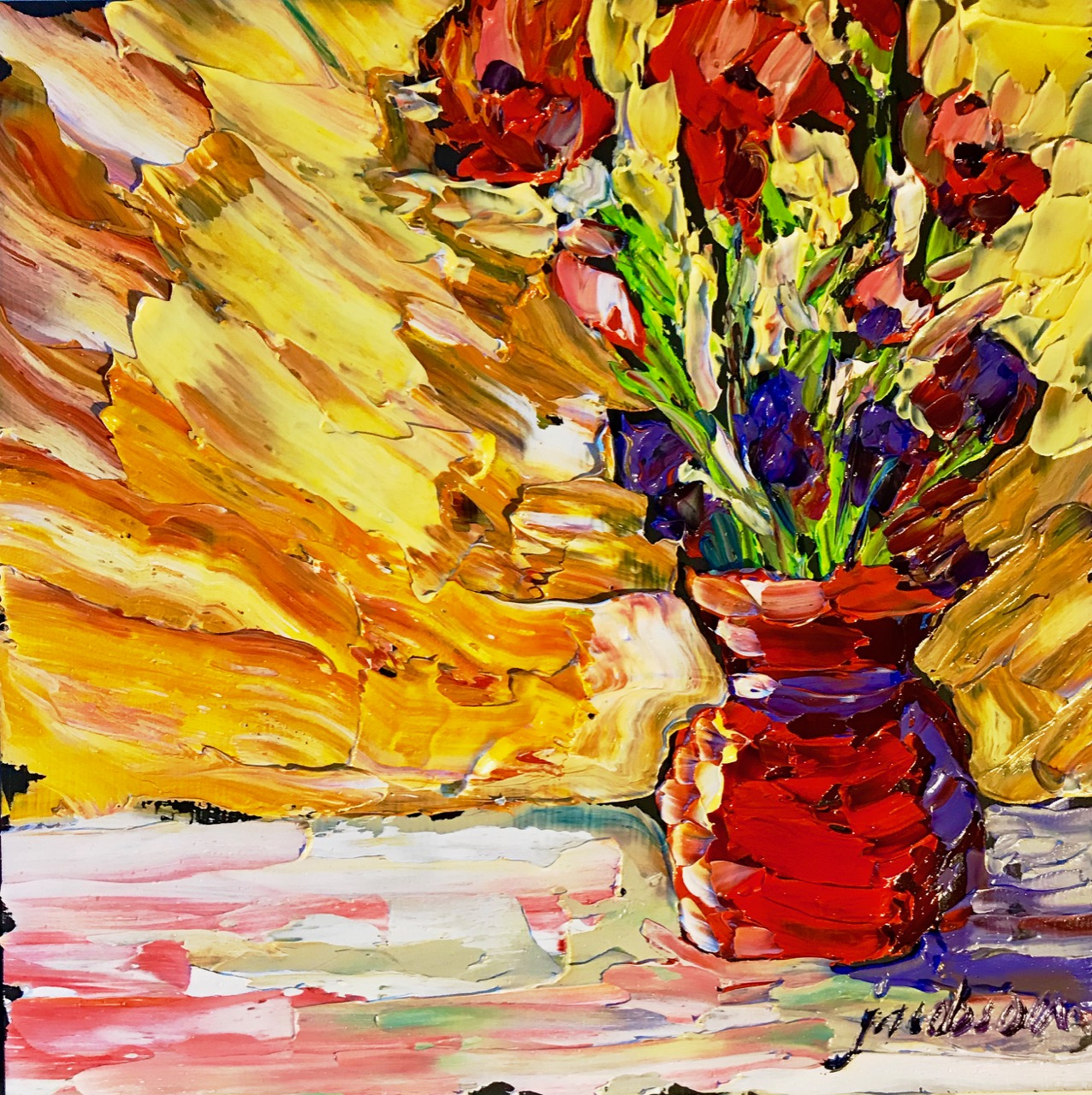 190224 poppies in red vase 6x6