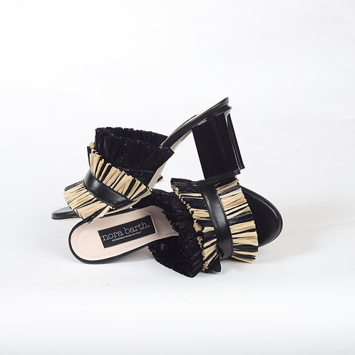 Sandalo sabot con fascia raffia