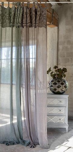 Washed Linen - Tenda con mantovana 140x290 verde