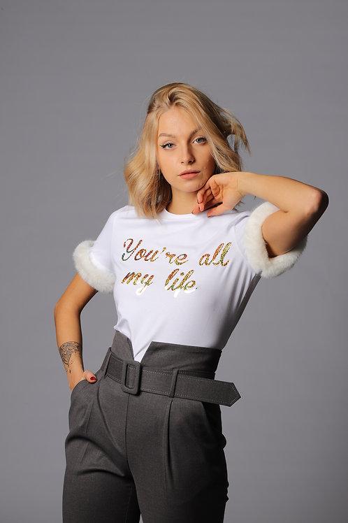 T-shirt con stampa oro