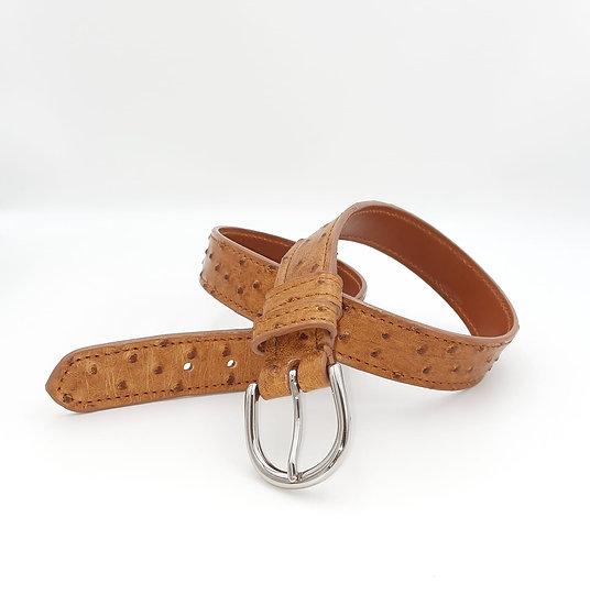 32mm Ostrich Saddle Tan Buckle Handstitched down