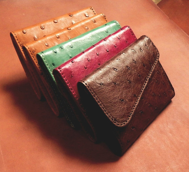 Ostrich Leather Tri Fold Unisex Wallets