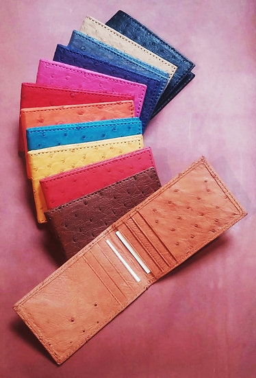 Ostrich Leather Fold Over Card Holder