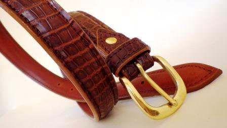 Nile crocodile belly belt antique tan