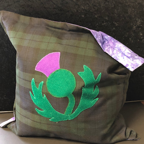 Thistle on Tartan cushion (green and lilac)