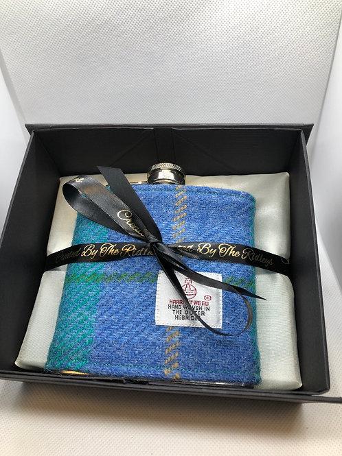 Blue Harris Tweed Hip Flask