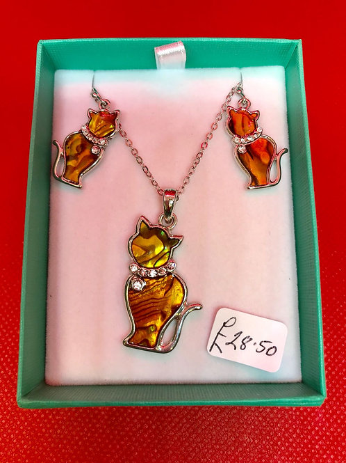 Cat Earrings and Necklace Set