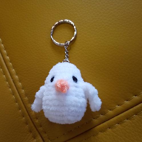 White Bird Crochet Keyring