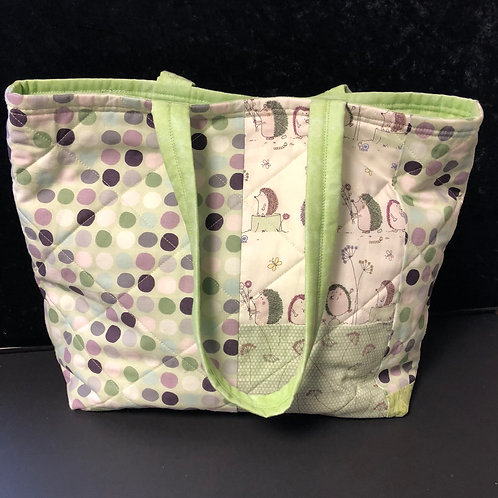 Quilted Hedgehog Tote bag (green)
