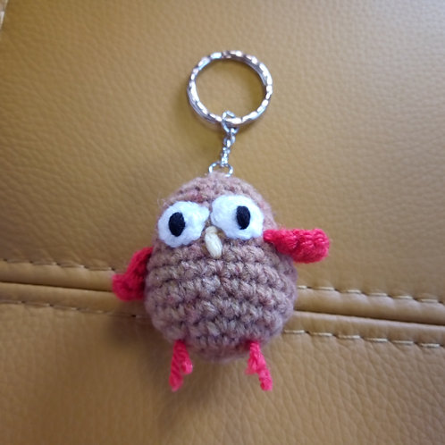 Brown and Red Bird Crochet Keyring