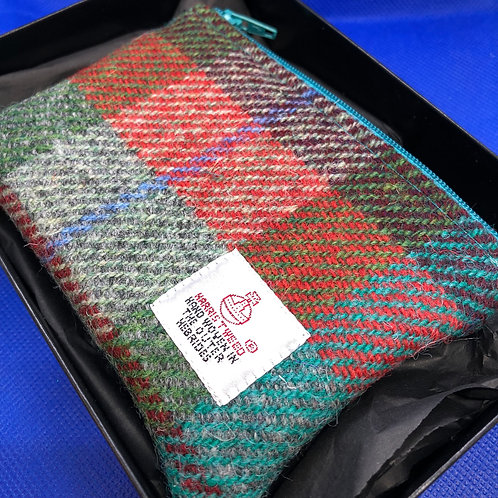 Blue, Green and Red Harris Tweed Purse