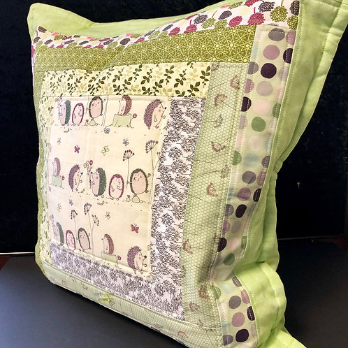 Large Quilted Cushion (green  & hedgehogs)